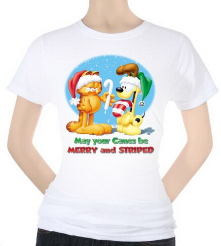 Garfield - Merry and Striped Women's T-Shirt Christmas