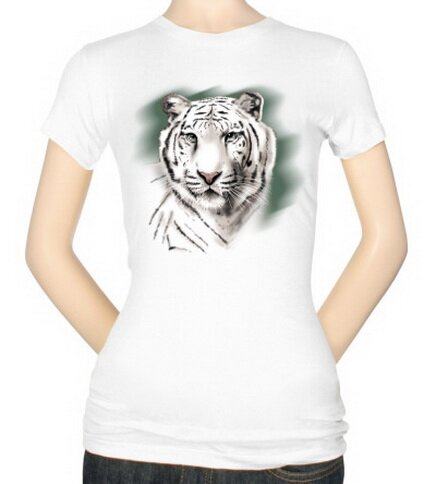 White Tiger Stripe Women's T-Shirt Nature and Animals