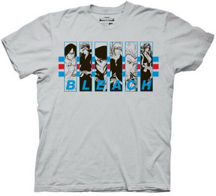 Bleach 5 - Characters in Frames with Stripes T-Shirts Anime