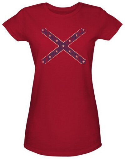Distressed Rebel Flag Women's T-Shirt World Culture