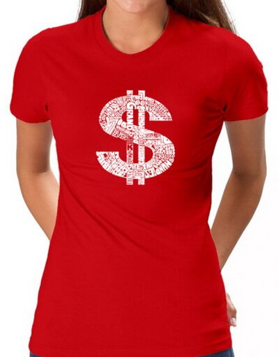 Dollar Sign Red Women's T-Shirt Funny
