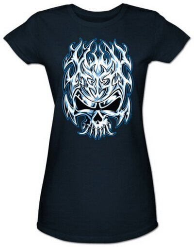 Flaming Chrome Skull Women's T-Shirt Fantasy