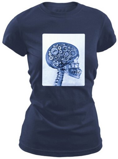 X-ray Of Skull With Gears Women's T-Shirt Funny