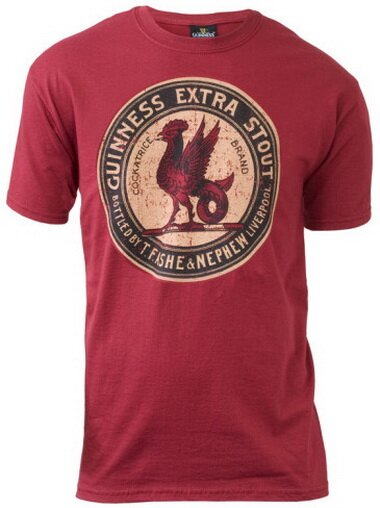 Guinness Red Vintage Label T-Shirt Holiday