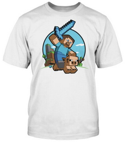 Minecraft Pig Riding t-shirts video game