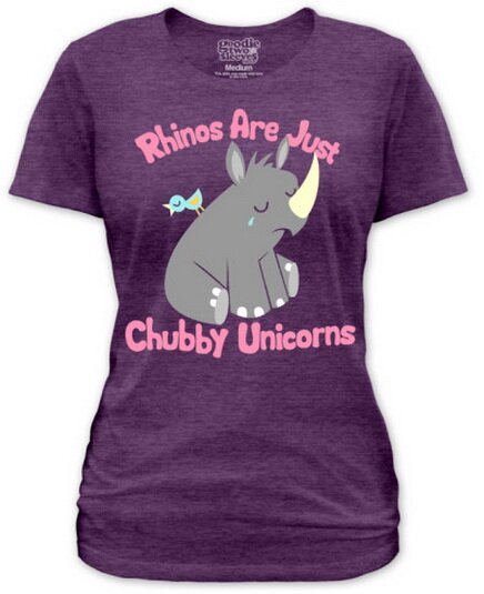 Rhinos Are Just Chubby Unicorn women's tee shirt nature and animals