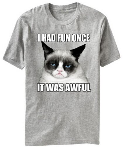 Grumpy Cat I Had Fun Once It Was Awful T-Shirt Funny