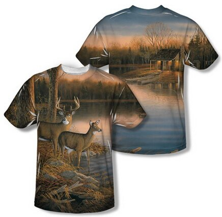 Tranquil Evening Front-Back Print T-Shirt Nature and Animals